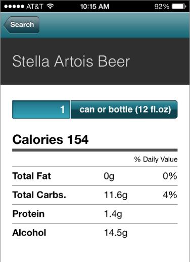 Calorie King - Stella Artois