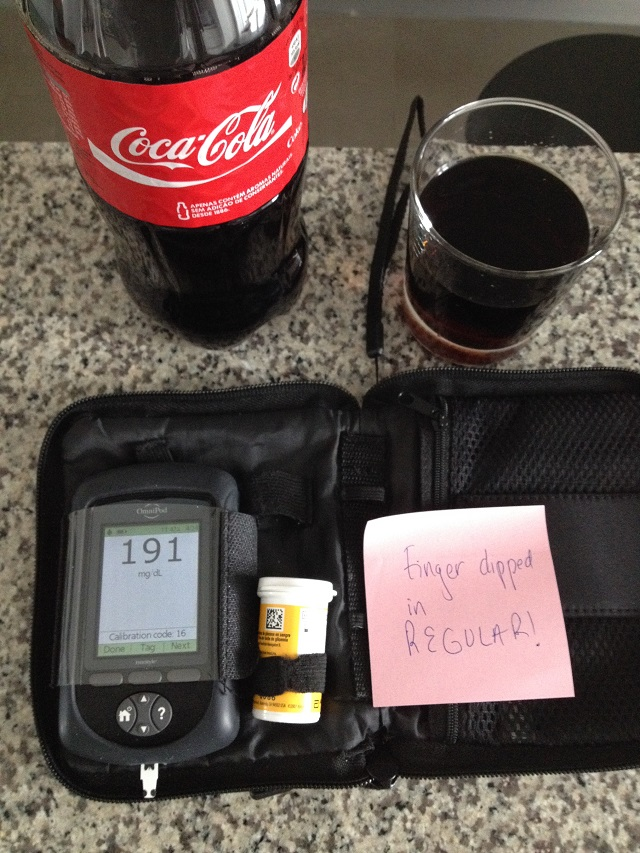 Diabetes Life Hack - testing Coke