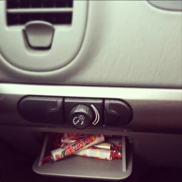 Diabetes Life Hack - glove compartment