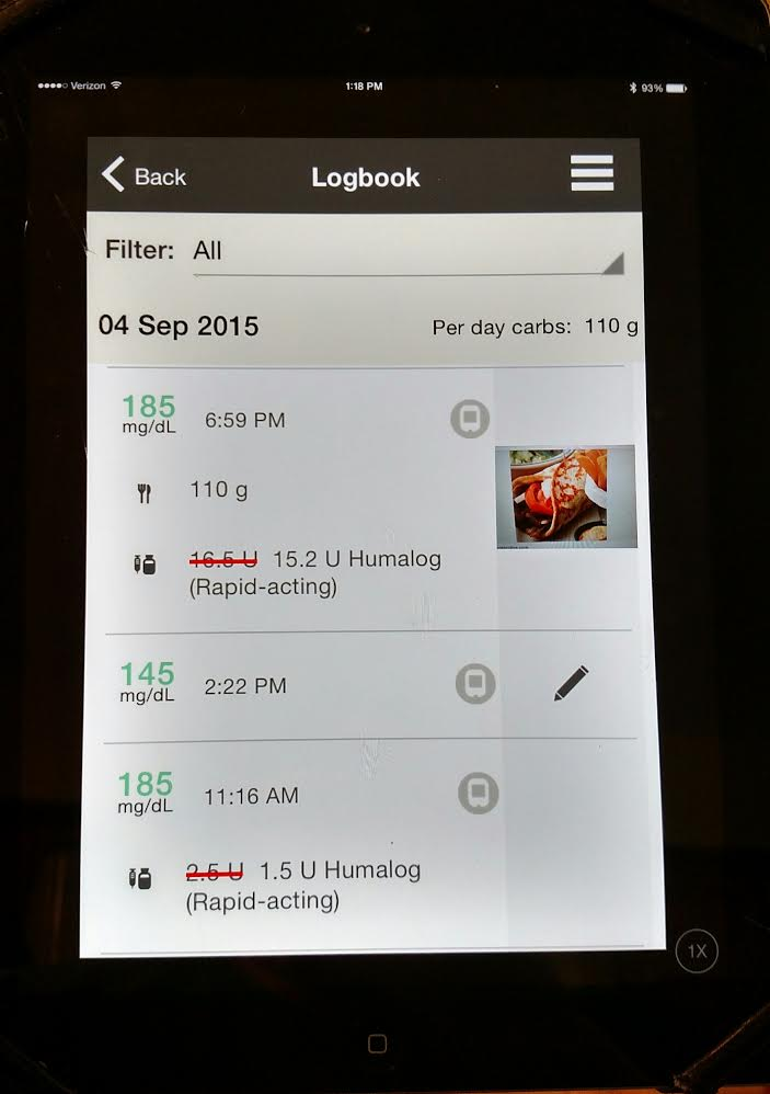 Connect logbook with food