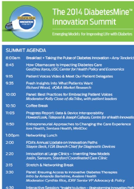 2014 DiabetesMine Innovation Summit Agenda