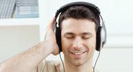 Man with Multiple Sclerosis (MS) listening to a music playlist