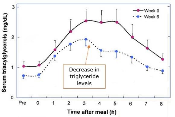 Serum triacylglycerols measured time after meal, week 0 vs week 6