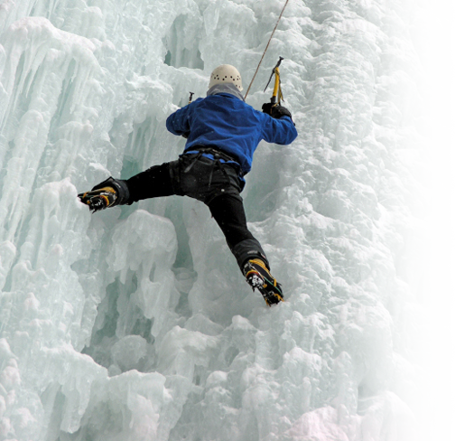 Mountain ice climbing