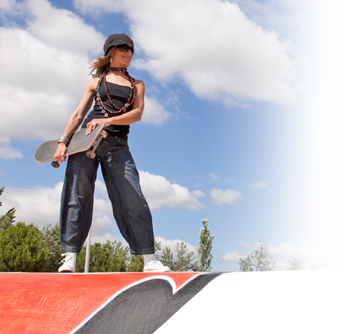 Woman ready to skateboard