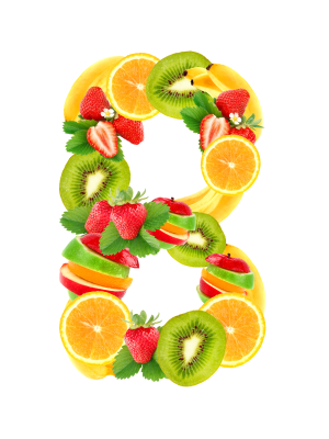 The letter B, spelled out in fruits and vegetables.