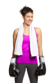A female boxer.