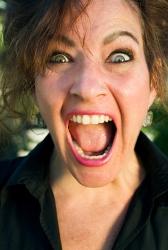 A woman yelling