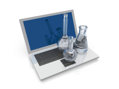 Test tubes and a laptop