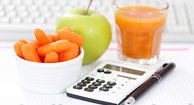 healthy snacks and a calculator