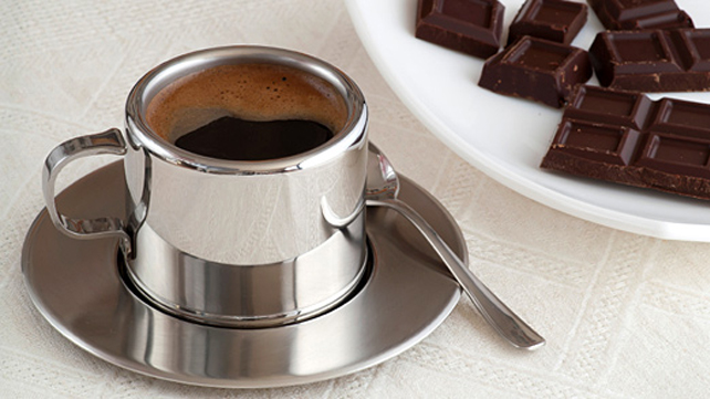 cup of espresso and dark chocolate on a plate