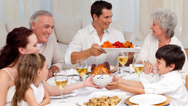 family sharing a holiday meal