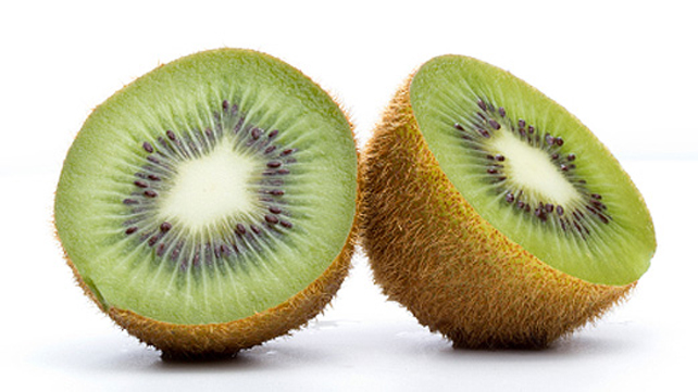 a kiwi sliced in half