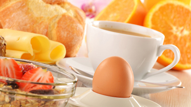 breakfast spread with whole egg