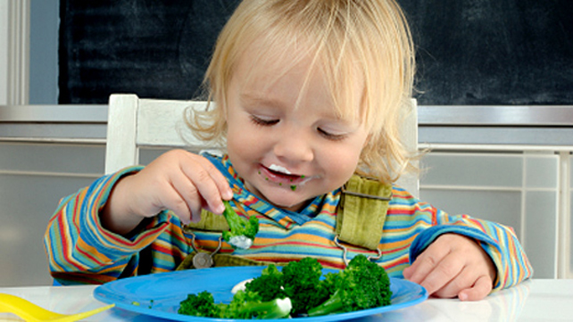 toddler enjoying eating broccoli