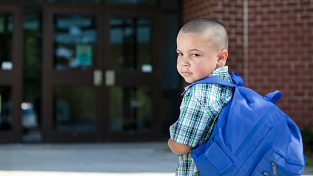 Anxious kid entering school