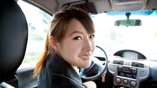 driver smiling at camera