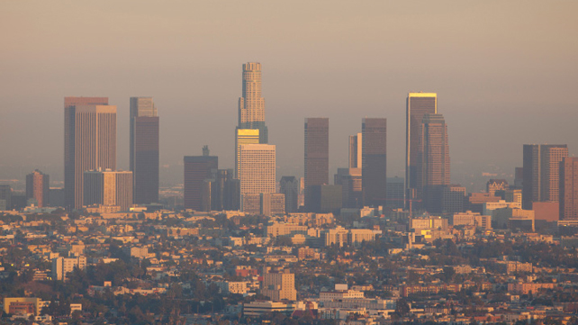 city skyline with smog