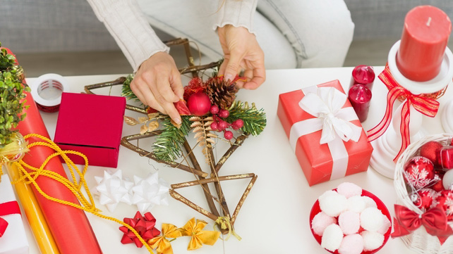 hands gift wrapping