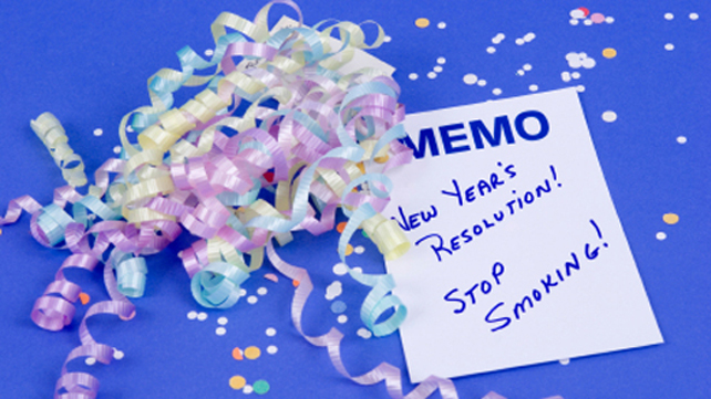 confetti and note to quit smoking