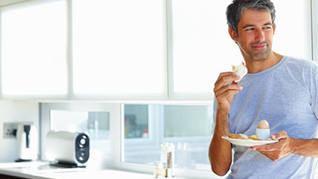 man eating a light, healthy meal