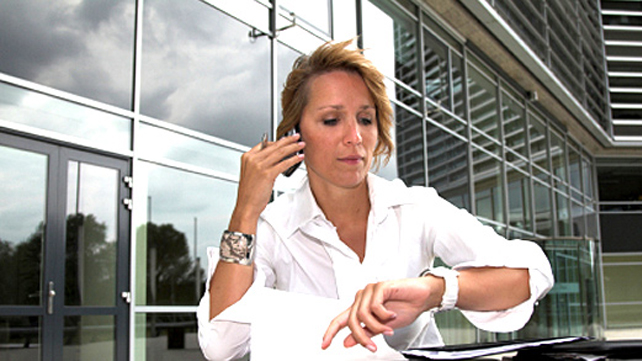 woman stressed being late
