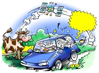 A cartoon depicting various distractions that can occur while driving. Image courtesy of iStockphoto.com