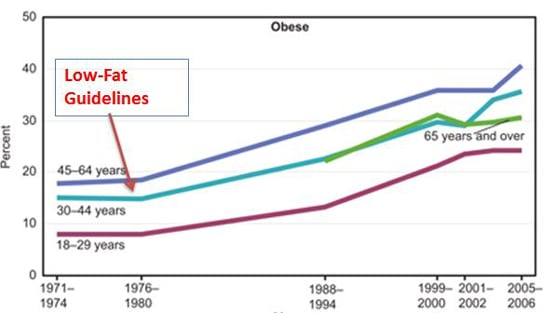Low-Fat Dietary Guidelines Linked to Rise in Obesity Graph