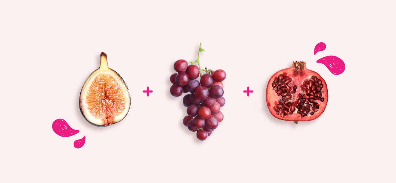 Image result for Fig, red grape, pomegranate