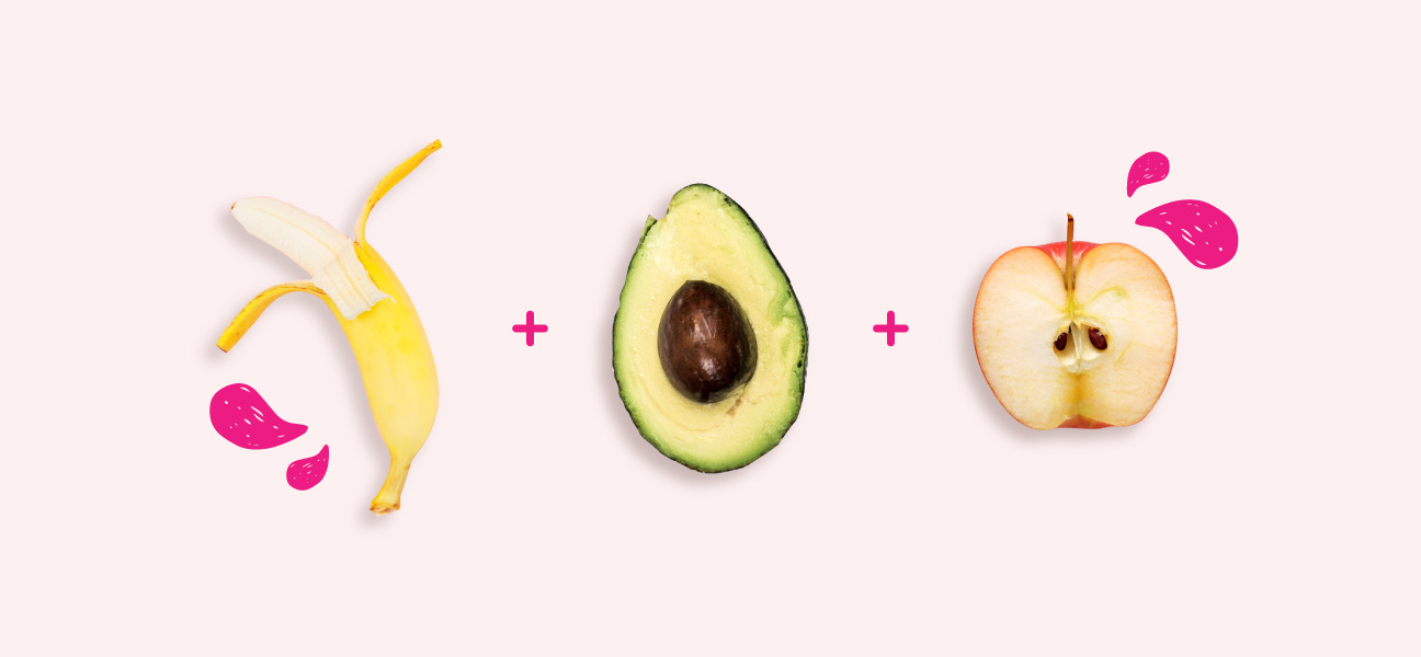 وجبة الإفطار المثالية: الموز ، الأفوكادو ، التفاح
