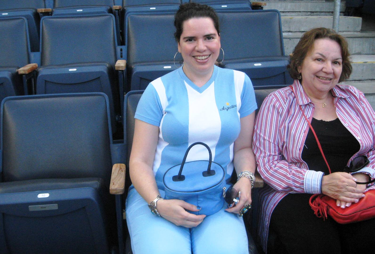 Blogger Elizabeth Santeramo and her mother enjoy a soccer match, sans dad
