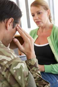 A veteran getting counseling from a therapist.