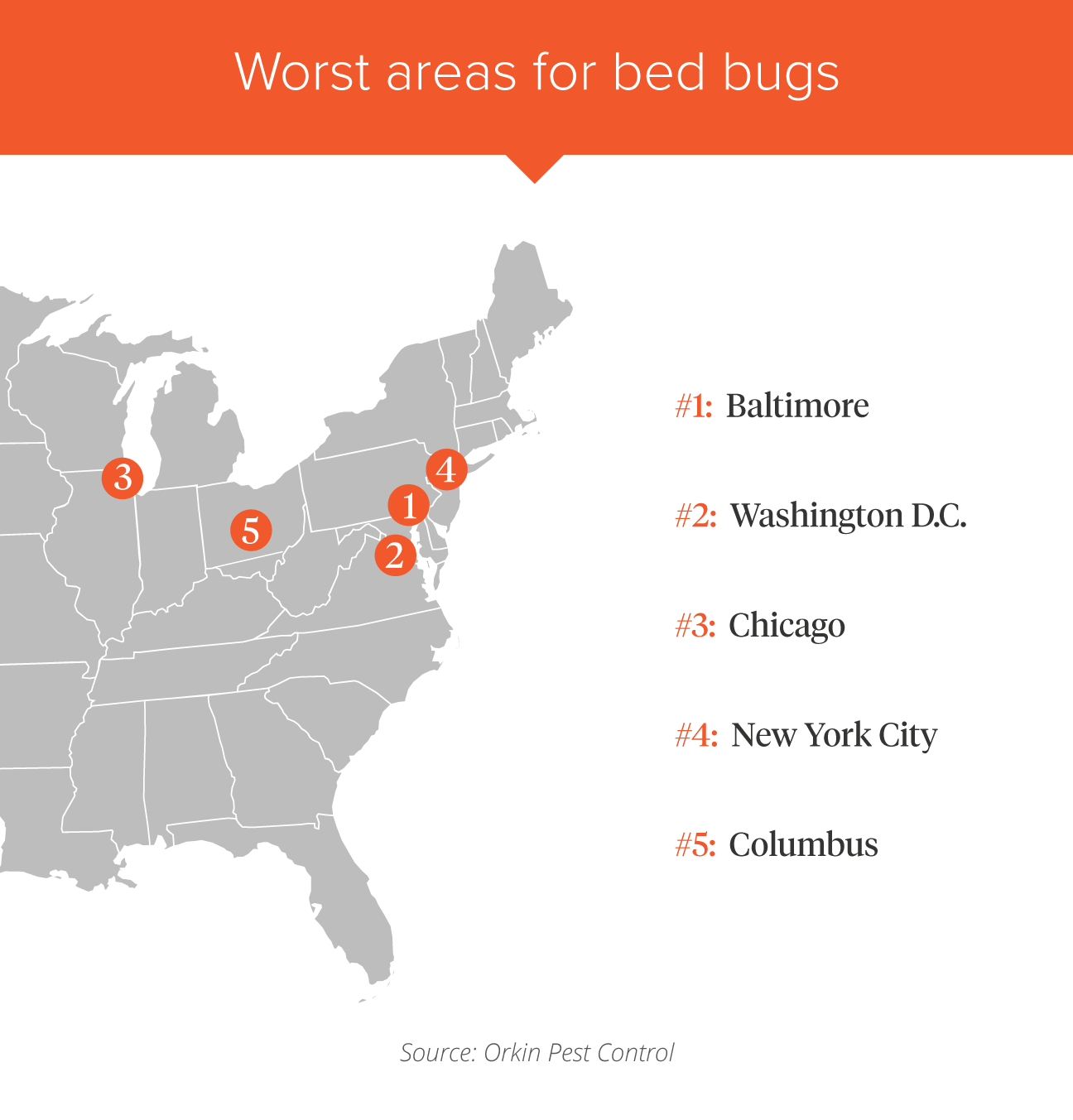 Bed Bugs What Cities Are The Worst - Map of bed bug infestation in us