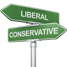 A sign depicting two major political viewpoints