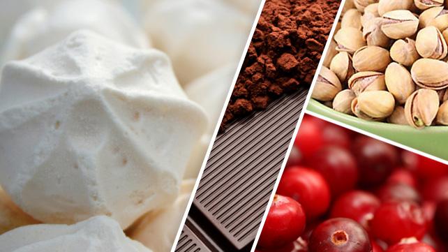 Chocolate Pistachio and Cranberry Meringues