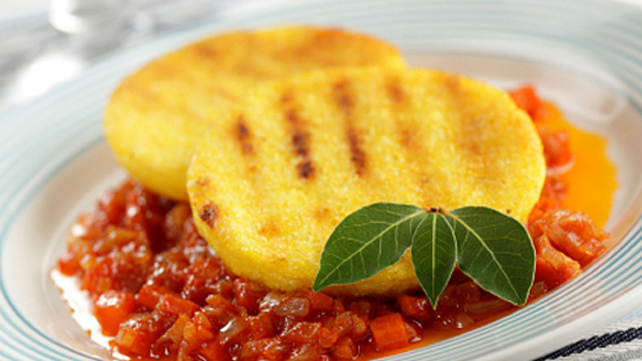 Grilled Polenta with Spicy Cannellini Beans