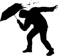 An illustration of a person bracing for gusty storm winds. Image courtesy of iStockphoto.com