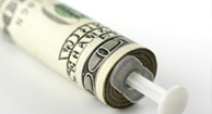 money wrapped syringe