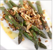 A plate of asparagus.