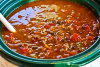 A bowl of chili.