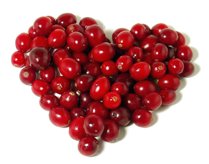 Cranberries in a heart shape