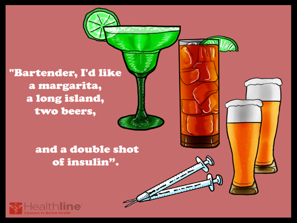 "Bartender, I'd like a margarita, a long island, two beers and a double shot of insulin""."