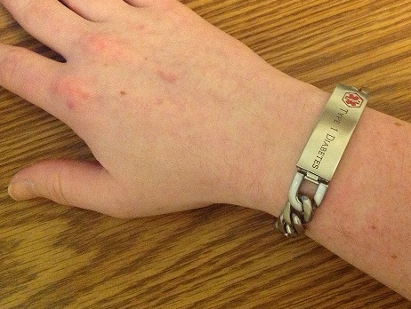 Wearing Metal Medical Alert Bracelet