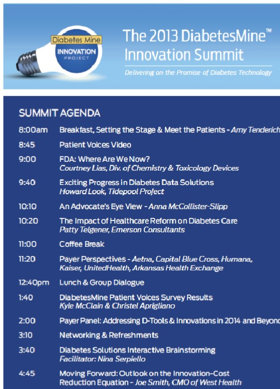 AGENDA - 2013 DiabetesMine Innovation Summit