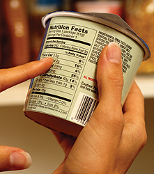 reading food label