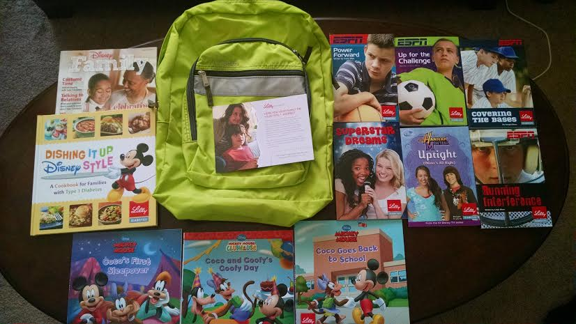 Lilly bacpack and Disney books