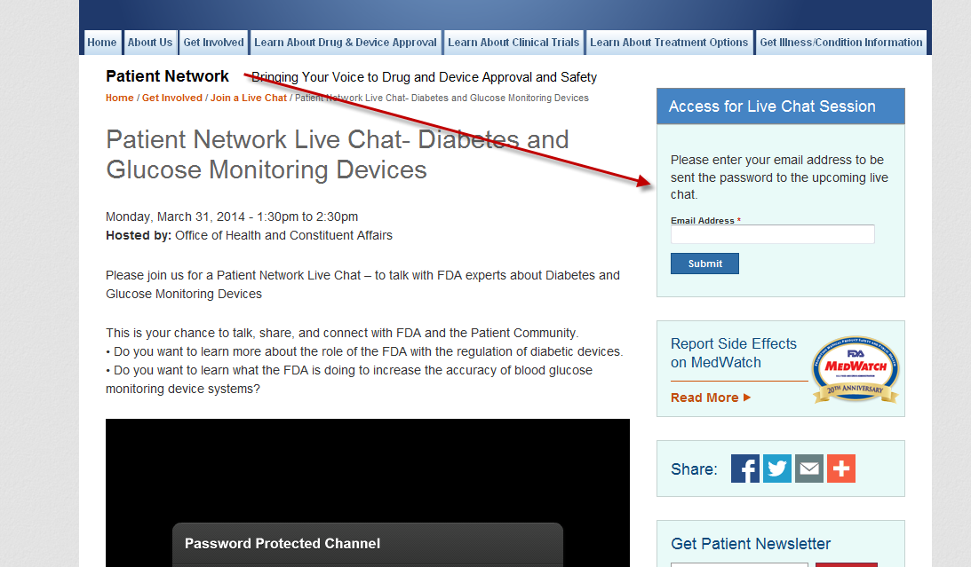 FDA Live Chat Page