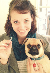 Heather Gabel and Lancet the Pug