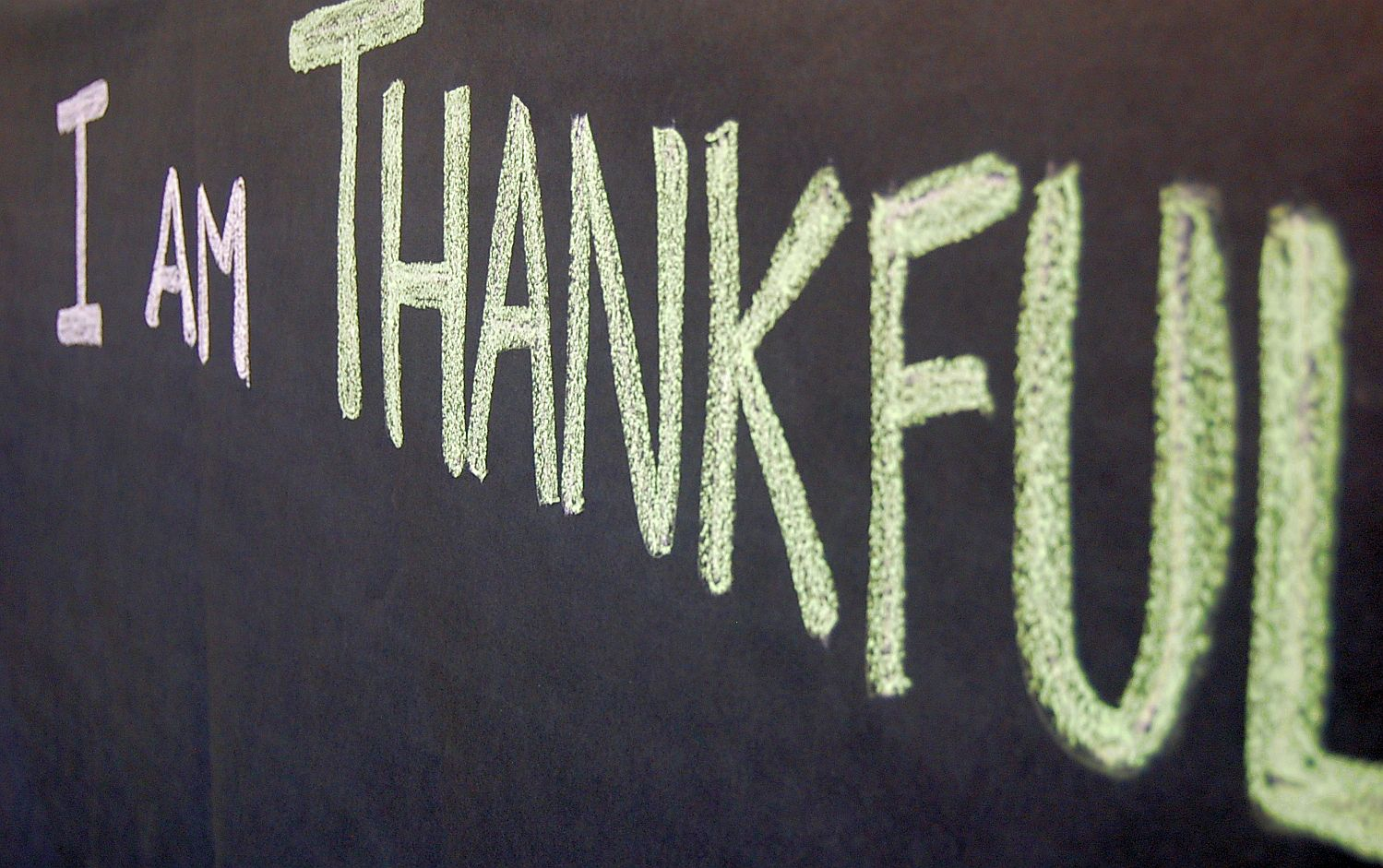 I Am Thankful on Chalkboard