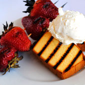 Grilled shortcake with fresh strawberries and whipped cream.